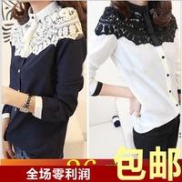 2013 spring chiffon shirt lace patchwork basic shirt long-sleeve chiffon shirt women's slim shirt