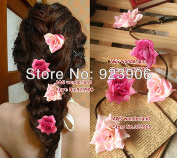 "20""  rose flower women's hair extensions clip in hair extension women Braided hair piece 10pcs/lot"