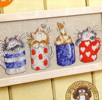 Free Shipping !!! New unfinished Cross Stitch  /diy Cross Stitch Kit / Cartoon Cross Stitch / Cups and cats