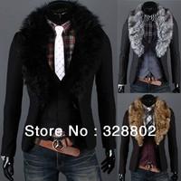 2013 High quality Tweed collars suit men's fashion leisure blazer jackets for men blazers for men Black M-XXL