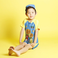 2013 child swimwear sun surf clothing print plants vs . zoombies swimwear boys swimwear