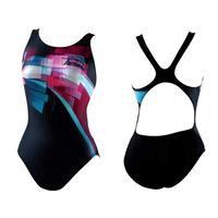 Black one piece trigonometric female professional swimwear quick dry pad