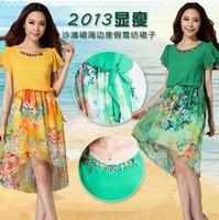 One-piece dress 2013 summer fashion short-sleeve chiffon beach dress bohemia one-piece dress