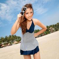 Spa skirt style one piece swimwear female meat small push up swimwear bribed 1267