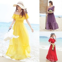 Free Shipping Ladies Sweet ruffle expansion bottom bohemia  full one-piece Dress beach Dress