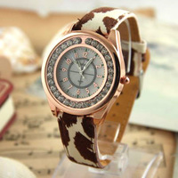 Color Quartz Analog New Gorgeous Leopard Print Lady Fashion Watchband Watches Wristwatches 049