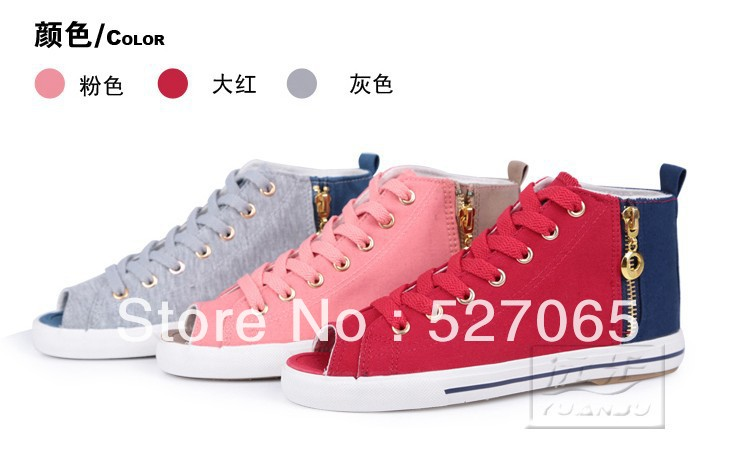 2013 fish mouth canvas shoes new single color matching high summer