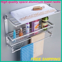 Free shipping! High quality space aluminum towel racks/bracket/ bathroom shelf/bathroom hanger/hardware accessories