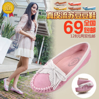 2013 spring tassel thangka bow fashion genuine leather cowhide flat round toe shoes single shoes gommini loafers