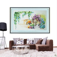 Free shipping Color ribbon embroidery paintings home living room Corner With Love Cross Stitch 3D printing