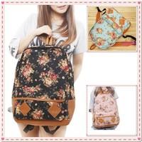 Women Fashion Vintage Cute Flower School Shoulder Book Campus Bag Backpack free shipping
