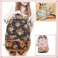 Women Fashion Vintage Cute Flower School Shoulder Book Campus Bag Backpack free shipping