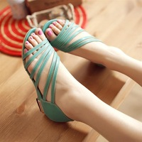 Free shipping 2014 belt open toe sandals comfortable wedges female shoes customize size  plus size  41  42 43