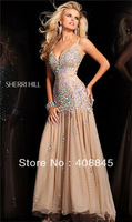 Free Shipping Word Wide Deep V Neck Strap Big AB Color Crystal Bodice A Line Organza Prom Dresses 2013