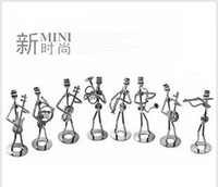 Musical group playing different musical instructions iron crafts  vivid images a collectable home decoration metal robot