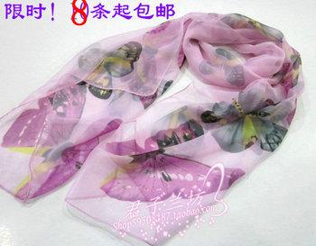 Stella free shipping Georgette scarf chiffon yarn long design silk scarf