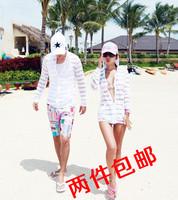 Ice swimwear top stripe shirt hot-selling beachwear sun protection clothing transparent long-sleeve cardigan