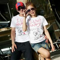 Beach honey love happy lovers t-shirt beach short-sleeve top summer
