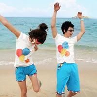 Disoo summer lovers short-sleeve 2013 T-shirt beach top set balloon dt909