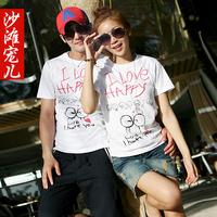 Love happy lovers t-shirt beach short-sleeve top summer class service