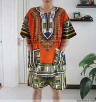 Summer trend men's national clothing cotton prints short-sleeve suit beach short sleeve shirt men's clothing top