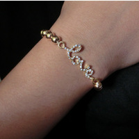fashion new imitation diamond word LOVE lucky 8 and cross  Bracelet bangle.Free shipping! wholesale!