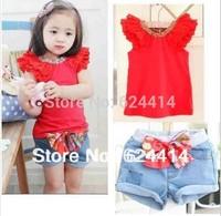 Freeshipping 2013 new arrival! / Girls suit kids t-shirt + skirt 2pcs clothes set children summer wear