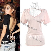 2013 New Fashion Women's Big V-neck Cross Backless Strap T-shirt Top 2 Colors Club Party Wear Free Shipping 11516