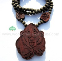 4PC/LOT 100% HQ Fast shipping New arrival Hot selling Hip hop POLAR BEAR Wooden pendent necklace GOOD WOOD