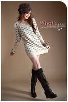 Free shipping, autumn and winter fashion plus size long-sleeve winter dress cashmere woolen sweater basic sweater dress