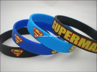 Printed Superman Logo Wristband, Silicon Bracelet, 3Colours, Custom Design Wristband, 202x12x2mm, 100pcs/Lot, Free Shipping