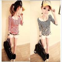 Spring new Japanese and Korean ladies temperament wild collar strapless stripe long-sleeved T-shirt free shipping