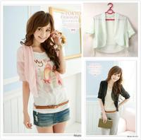 New Women Korean Fashion Chiffon Spring Wraps T-shirt Top Blouse Cappa Colors free shipping