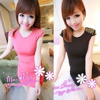 2013 summer slim high waist rivets sleeveless one-piece dress spring and autumn female basic skirt