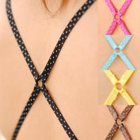 6 shoulder strap underwear belt shoulder strap cross polka dot pectoral girdle bra with multicolour