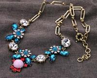 fashion rhinestone crystal flower shining beautiful choker necklace