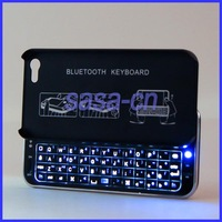 2.4GHz Ultra-slim Slide Wireless Bluetooth Mini Keyboard Hard Case with Backlight Keyboard for iPhone 5 Free Shipping