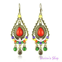Wholesale Free shipping Victorian Style Earrings Vintage Colorful Drop Earrings for Women E034