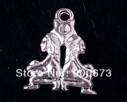 Free Shipping 50pcs/lot DIY Tibetan Silver pendant 2 people Pendant jewelry pendant Charms,bail pendant fit Jewelry making S361(China (Mainland))