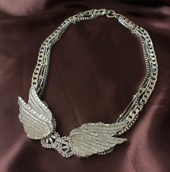 Artilady 2013 high quality Rhinestone Angel wings Long necklace for women