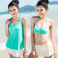 Bribed swimwear female small push up split skirt piece set swimwear bikini swimwear