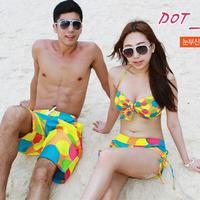 Lovers swimwear bikini steel split hot spring push up beach pants small