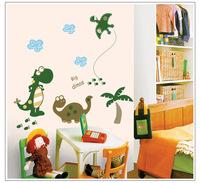 free shipping PVC cartoon wall sticker dinos 50*70 cm  green color for kids room/bathroom/glass