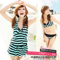 Akf green stripe steel push up bikini hot spring swimwear piece set women