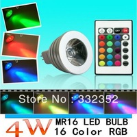 10X Freeshipping 3W 4W 5W MR16 E27 GU10 E14 B22 GU5.3 RGB LED Light Remote Control 16 Colors RGB LED Lamp Bulb LED Lighting