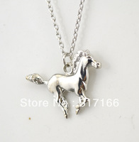 free shipping 10 pc a lot rhodium running horse pendant necklace(A102786)