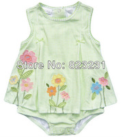 2014 summer new, baby girls sunflower cotton romper dress/romper skirt ,one piece sunsuit, free shipping,size 12M