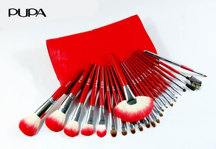 Pupa cosmetic brush set 24 red bag make-up beauty tools(China (Mainland))