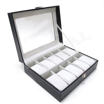 10 Grids Leather Jewelry Watch Display Box Storage Holder Organizer Case Holder[200305]