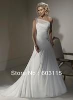 QN130530-0906  Classical One-Shoulder Organza White  Bridal Dresses